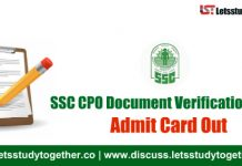 SSC CPO Document Verification Admit Card 2017 – Download Now