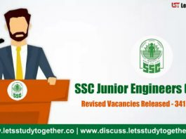 SSC JE 2017 Revised Vacancies Released – Total 341 Vacancies