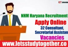 NHM Haryana Recruitment 2018 - Apply Online 32 Consultant, Secretarial Assistant Vacancies