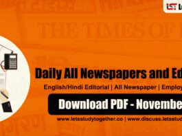 Daily Newspapers and Editorial PDF – November 2018