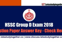 HSSC Group D Question Paper Answer Key ( Both Shifts) – 10th November 2018