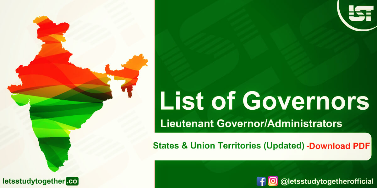 List of Governors of Indian States & Union Territories 2020 (Updated ) – Download PDF