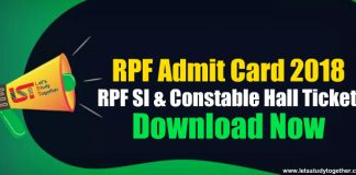 RPF Admit Card 2018 Download Now - RPF SI & Constable Hall Ticket