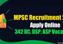 MPSC Recruitment 2018 - Apply Online 342 DC, DSP, ASP Vacancies