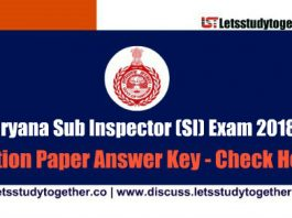 HSSC Sub Inspector (SI) Answer Key ( Both Shifts) – 2nd December 2018