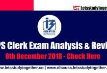 IBPS Clerk Exam Analysis and Questions Asked all Shifts – 8th December 2018