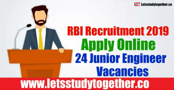 RBI Recruitment 2019 - Apply Online 24 Junior Engineer Vacancies