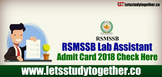 RSMSSB Lab Assistant Admit Card 2018 Out - Download Here