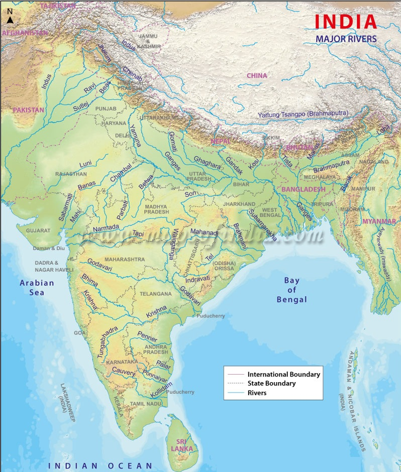 India Map with Rivers | Indian Rivers Map PDF | Rivers in India Map