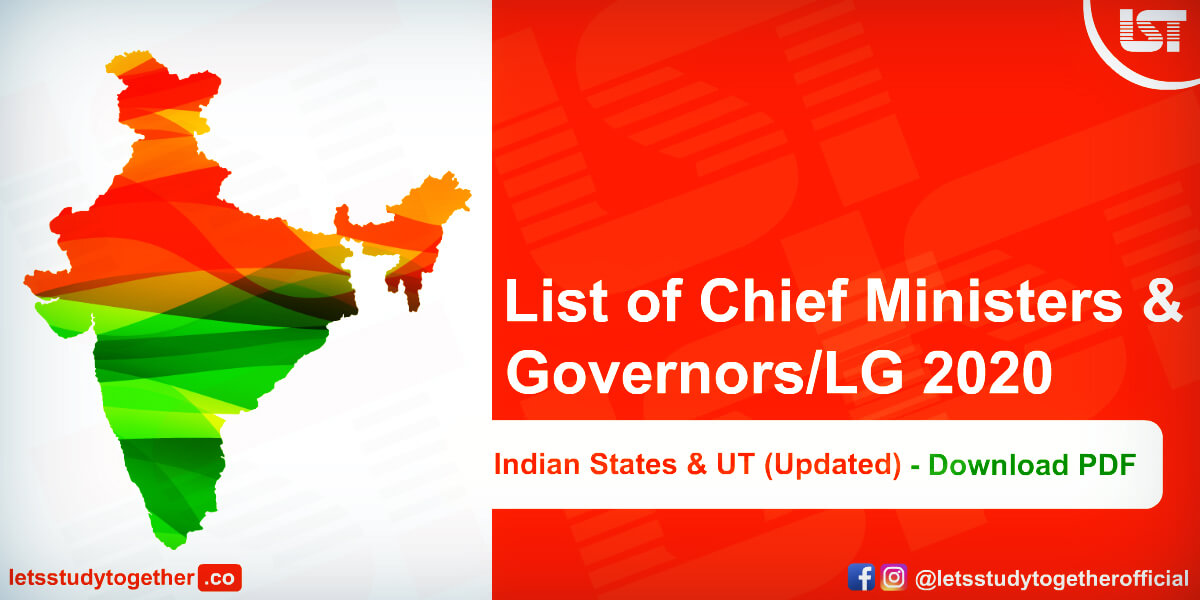 List of Chief Ministers & Governors 2020 of Indian States & UT (Updated) - Download PDF