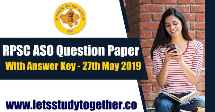 RPSC ASO(Assistant Statistical Officer) Question Paper with Answer key – 27th May 2019
