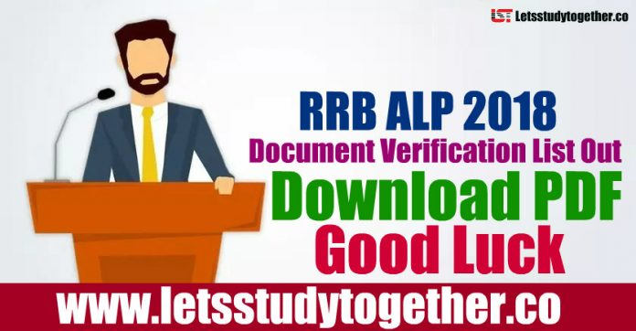 RRB ALP 2018 Document Verification List - Download PDF