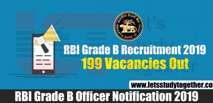 RBI Grade B Recruitment 2019 - 199 Vacancies Out
