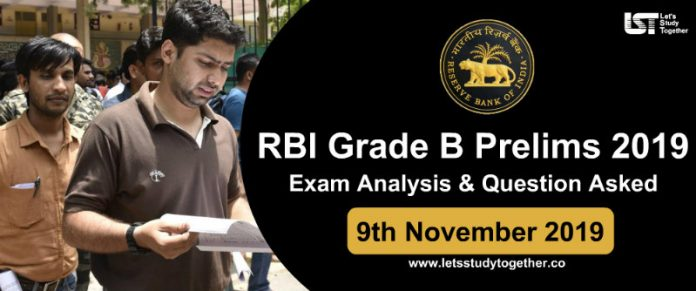 RBI Grade B Prelims Exam Analysis & Question Asked 9th November 2019