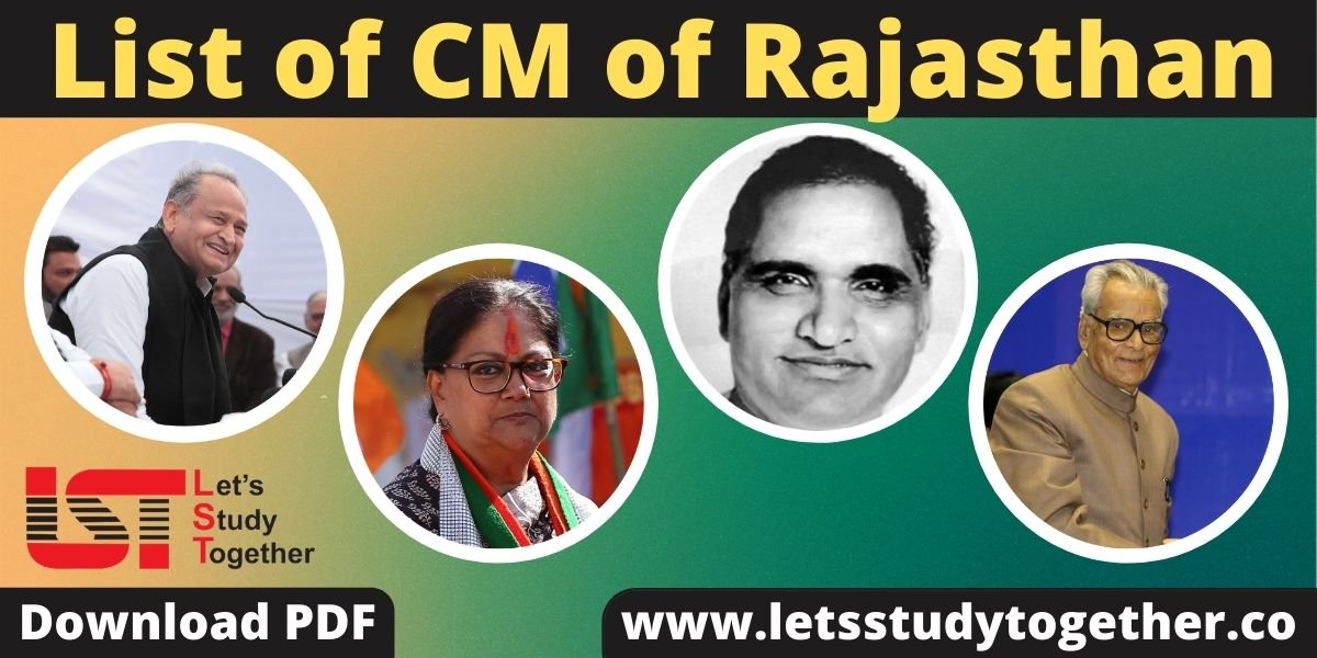 List of Chief Ministers of Rajasthan - Download PDF
