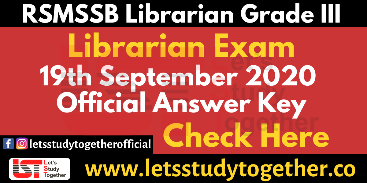 RSMSSB Librarian Official Answer Key 19th September 2020