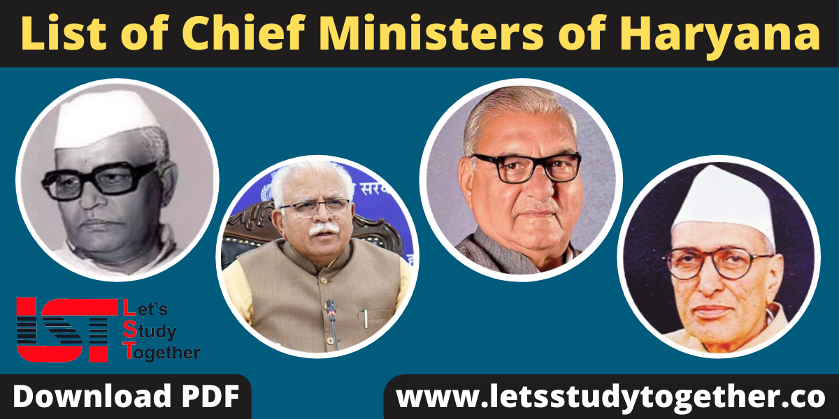 List of Chief Ministers of Haryana (1966-2020) - Download PDF