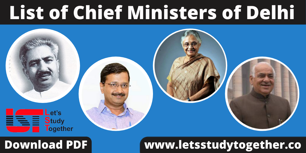 List of Chief Ministers of Delhi (1952-2020) - Download PDF