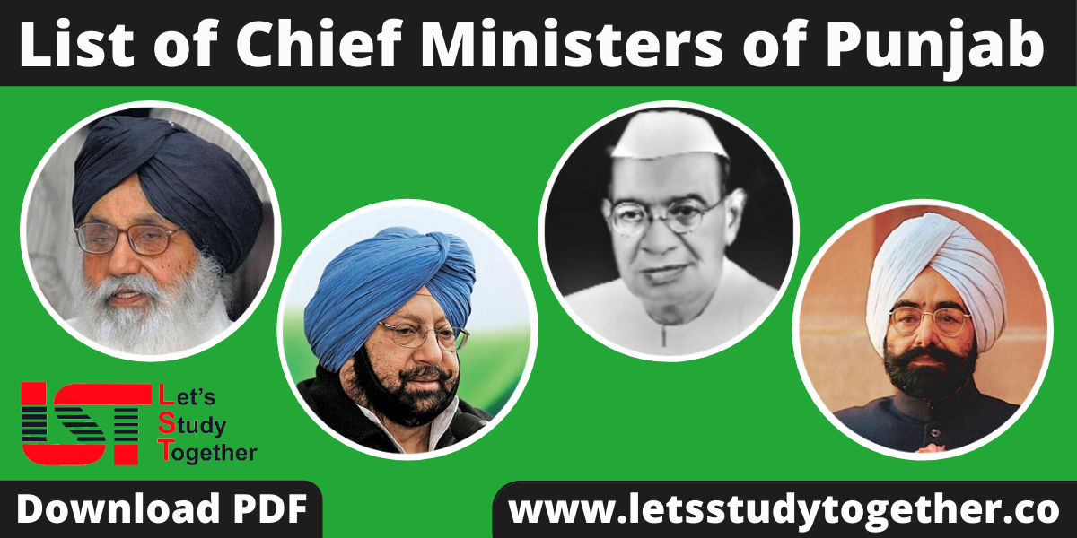 List of Chief Ministers of Punjab (1947-2020) - Download PDF