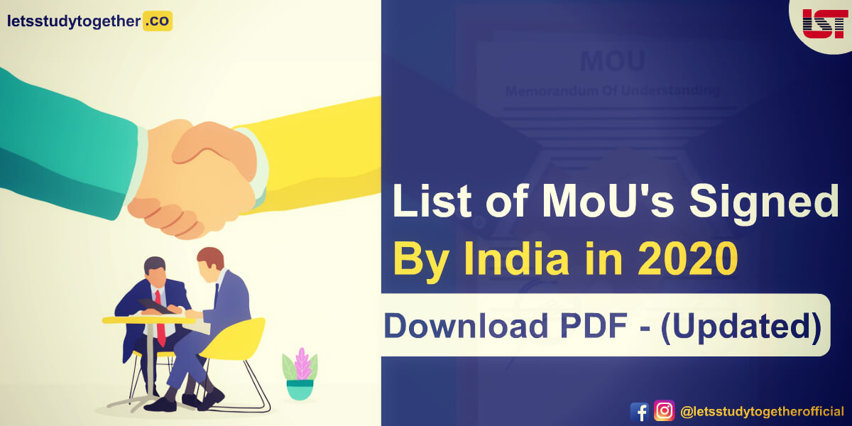 List of Memorandum of understanding (MoUs) signed by India in 2020 – Download PDF