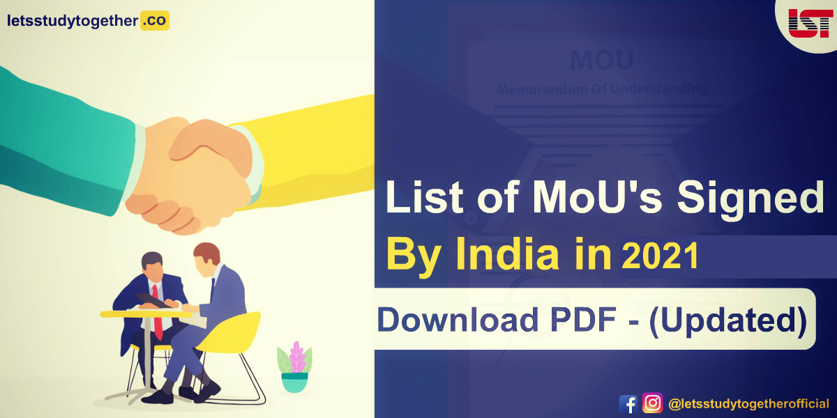 List of Memorandum of Understanding (MoUs) signed by India in 2021 (Updated)