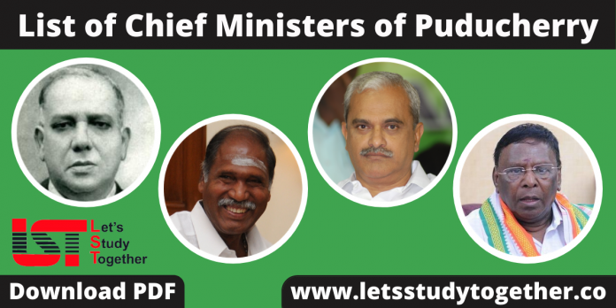 List of Chief Ministers of Puducherry (1963-2024) – Download PDF